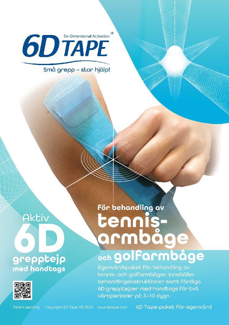 6D Tape För Behandling Av Tennisarmbåge Och Golfarmbåge Inklusive Instruktioner
