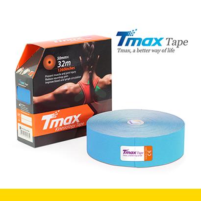 Tmax Kinesiology Tape, Cotton – Färg: Blå, Stor Rulle – 32meter, Bredd: 5cm